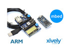 Composited shot of mbed board, mbed acessory board, and xively logo