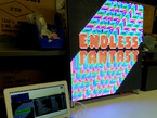 Large LED wall with cartoony text displayed
