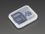 Micro SD card with SD adapter enclosed in small plastic case