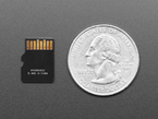 Micro SD Card next to quarter for size reference