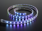 Coil of blue and purple lit digital LED strip