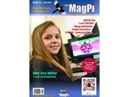 Front cover of The MagPi - Issue 13 June 2013, a magazine for raspberry pi users. RISCOS elite, C and FORTRAN, Racing with Scratch, Parallel Calculations, Pi Matrix – Control 64 LEDs. Meet Amy Mather, 13 year old programmer. Portrait of a blonde long-haired smiling white tween in front of a PC with the Raspberry Pi logo on the display.