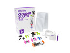 Littlebits CloudBit starter kit Packaging box and all included littlebits laid out in a grid