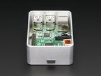 Side shot featuring microSD slot on half-assembled aluminum case for Raspberry Pi - Model B+ / Pi 2 / Pi 3.