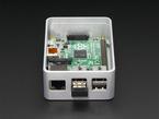 Side shot featuring Ethernet and USB ports on half-assembled aluminum case for Raspberry Pi - Model B+ / Pi 2 / Pi 3.