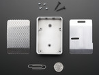 Assembly pieces and hardware kit for aluminum case for Raspberry Pi - Model B+ / Pi 2 / Pi 3 above a paper clip and a US quarter.