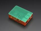 Angled shot of assembled orange Pi Model B+ / Pi 2 / Pi 3 Case Base with green lid.
