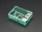 Angled shot of assembled green Pi Model B+ / Pi 2 / Pi 3 Case Base with pink lid.