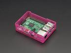 Angled shot of assembled pink Pi Model B+ / Pi 2 / Pi 3 Case Base without lid.