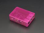 Angled shot of assembled pink Pi Model B+ / Pi 2 / Pi 3 Case Base with pink lid.