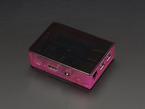 Angled shot of assembled pink Pi Model B+ / Pi 2 / Pi 3 Case Base with black lid.