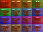 Composite of 16 menorahs with different LED color patterns