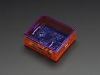 Angled shot of orange Raspberry Pi Model A+ Case with purple lid.