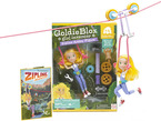 Goldie Blox Action Figure with Zipline in front of packaging