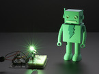 Very bright LED bathing robot figuring in green light