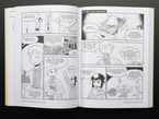 Black and white page showing comic book dialogs amongst two anime characters.
