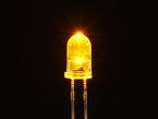 Single LED lit up bright yellow