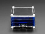 Side detail of microSD port on assembled midnight-blue PiTFT Pibow+ Kit for Pi 2 / B+ / Pi 3 B+.