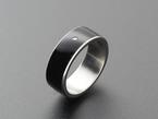 Black resin and metal ring