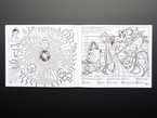 Black and white illustrations of a maze game and an enemy puzzle game.