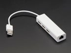 USB 2.0 and Ethernet Hub - 3 USB Ports and 1 Ethernet