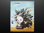 """Front cover of """"Hackaday Omnibus - Vol. 02 - 2015"""" Art illustration is of a Mad Max-like vehicular contraption with the skull Hackaday logo."""