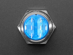 Topdown shot of 19mm rugged metal pushbutton showing 4 metal contacts and 3 spade contacts.