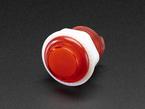 Angled closeup of 24mm mini translucent red LED arcade button