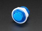 Angled closeup of 24mm mini translucent blue LED arcade button