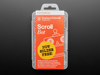 """Top shot of Pimoroni Scroll Bot - Pi Zero WH Project packaging in orange displaying a robot head text and a sticker """"Now solder Free!"""