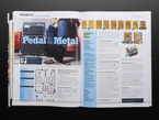 Opened magazine spread to Arduino guitar pedal tutorial. Pedal to the Metal.