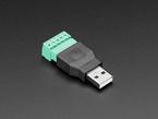 angled shot of USB-A Male Plug to 5-pin Terminal Block