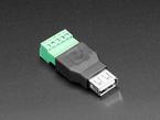 angled shot of USB-A Female Socket to 5-pin Terminal Block