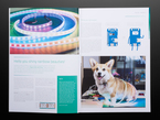 Open book spread featuring a Corgi dog with rainbow LED strips.