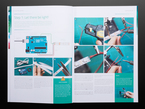 Open book spread featuring an Arduino and an LED strip.