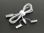 USB 3-in-1 Sync and Charge Cable. Micro B / Type-C / Lightning