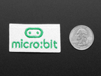 Rectangular shaped embroidered badge with the micro:bit logo in green over a white background