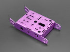 Angled shot of purple aluminum metal robot chassis with many holes and mounting tabs.