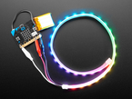 Adafruit NeoPixel LED Strip with  Alligator Clips wired to Micro Bit, lighting up rainbow