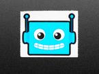Close view of a Blue robot sticker