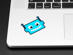 Blue robot sticker displayed on the left side of a laptop