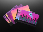 Five postcards with different Halloween-inspired backgrounds fanned out.