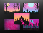 Top view of five postcards with different Halloween-inspired backgrounds.