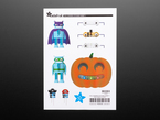 Sticker sheet displaying halloween themed cartoon stickers of a pumpkin, robot, capacitors and resisters.