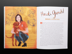 Two page illustration of a white woman, Heidi Ganahl, kneeling down with a brown medium-sized dog.