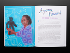Two page cartoon illustration and biography of a Black woman holding a medium-size robot against a blue background, Ayanna Howard.