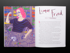 Two page cartoon illustration and biography of a pink-haired white woman engineer tinkering at her desk, Limor Fried.