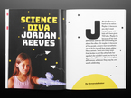 Topdown shot of magazine opened up to section, Science Diva Jordan Reeves. Jordan is a young white girl with long brown hair. She shows off a prosthetic left arm in the form of a purple, 3D-printed glitter-shooting gun.