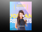 Back cover of Smore magazine. Jordan is a young white girl with long brown hair. She points at the camera her prosthetic left arm, a purple, 3D-printed glitter-shooting gun.