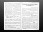 Open zine spread to editorial on quantum computers and Bitcoin.
